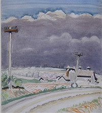 road with telephone poles by charles ephraim burchfield