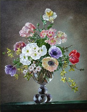 still life of flowers in a glass vase by cecil kennedy