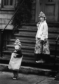 halloween, chicago (persons with masks on stairs) by yasuhiro ishimoto