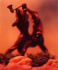 untitled, from the portfolio the wild west (tomahawk fight) by david levinthal