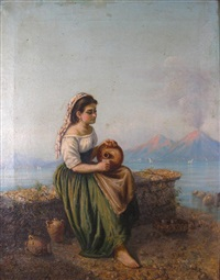 young woman in landscape by gaetano mormile