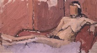 nude on rose chaise longue by euan uglow