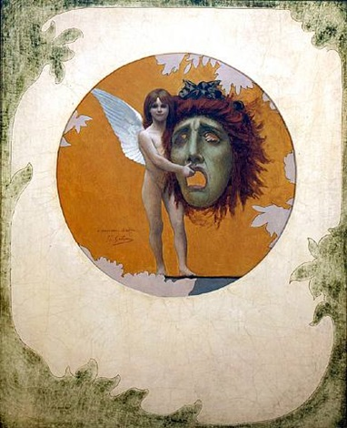 putto holding mask by jean-léon gérôme