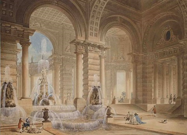 fountain in an interior courtyard by firmin perlin