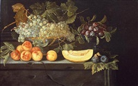still-life with a bowl of grapes by spanish school