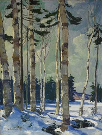 winter birches by jonas lie