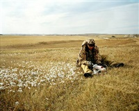 dad field dressing a goose, mcclusky, nd by brian lesteberg