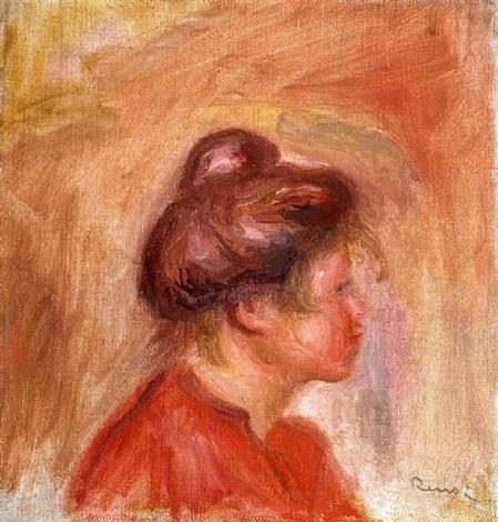 jeune fille en rouge by pierre-auguste renoir