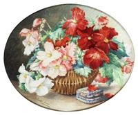 begonias in a wicker basket by juliette goury