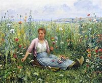 picking wildflowers by daniel ridgway knight