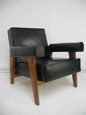 fauteuil low, black by pierre jeanneret