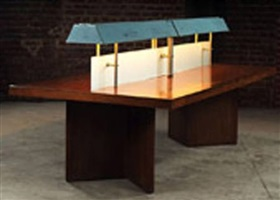 grand library table with light by pierre jeanneret