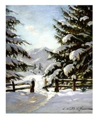 winter landscape by kostantine weschiloff alexandrovich