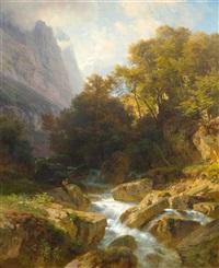 glarner berglandschaft mit einem bach by johann gottfried steffan