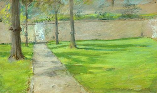 a bit of sunlight (garden wall) by william merritt chase