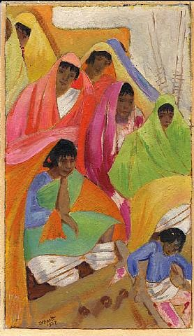 women at pueblo by dorothy eugenie brett