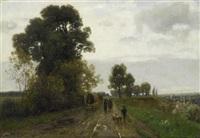 landschaft mit einer kutsche und figuren by adolf (johann) staebli