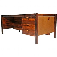 rosewood and leather desk by jorge zalszupin for l'atelier by jorge zalszupin