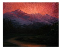 sunset over the mountains by lloyd lhron albright