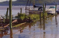 peaceful morning on the river (sold) by christopher m. magadini