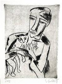 madchen mit katze (girl with cat) by karl schmidt-rottluff