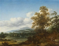 view of a lake landscape with a group of trees in the foreground by joris van der haagen