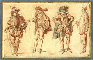 four commedia dell'arte figures: three gentlemen and pierrot by claude gillot