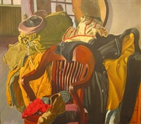 still-life with chair and overcoat by jack beal
