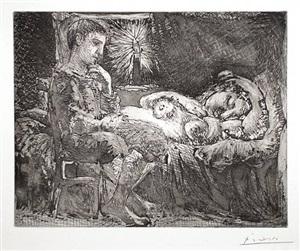 garçon pensif veillant une dormeuse à la lumière d'une chandelle (bloch 226) by pablo picasso