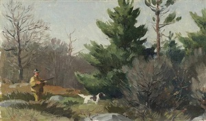 hunter and dogs in wooded landscape by aiden lassell ripley