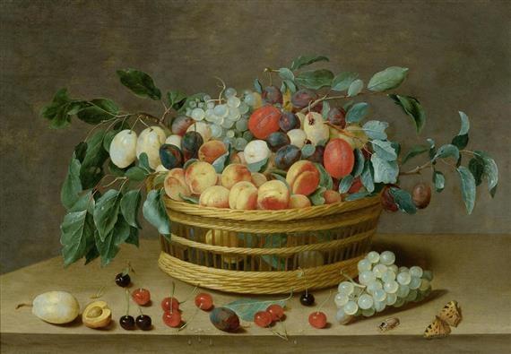 weidenkorb mit früchten und pflaumenblättern by isaac soreau