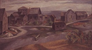 perkins cove fish houses, ogunquit by niles spencer