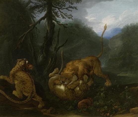 löwen beschützen ihre kleinen vor einem angriff by carl borromaus andreas ruthart