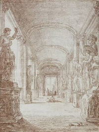 a draftsman in the capitoline gallery by hubert robert