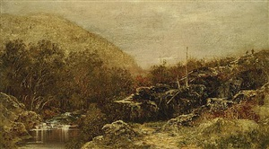 fall landscape, catskills, with hikers by ralph albert blakelock