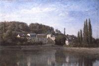 ville d'avray, l'étang, les maisons cabassud et la maison de corot / ville d'avray by jean-baptiste-camille corot