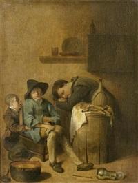 interieur mit zwei schlafenden herren by pieter jacobsz duyfhuysen