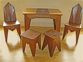 important cubist table & chairs by mieczyslaw kotarbinski