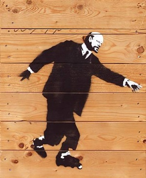 lenin on roller blades by banksy