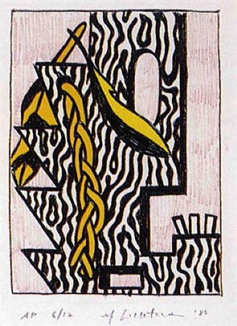 head with feathers and braid by roy lichtenstein