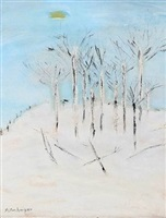birch trees in snow by milton avery