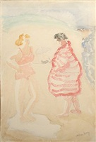 beach conversation by milton avery