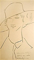 young woman in large chapeau by amedeo modigliani