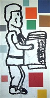 abstract painting with standing figure by donald baechler