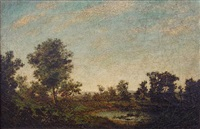 day is done (landscape with indian canoe) by ralph albert blakelock