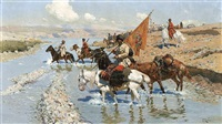 cossacs crossing the river (sold) by frants roubaud