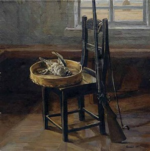 still life with hazel-grouse by alexander gritsay