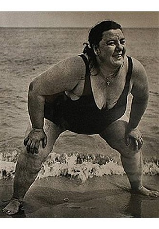 coney island, new york, bather standing by lisette model