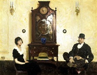 couple in parlour by dean cornwell