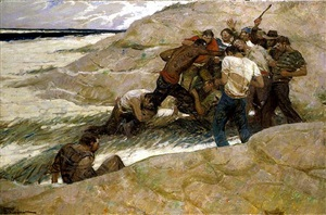 struggle on beach by mead schaeffer
